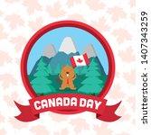 beaver flag mountains forest...   Shutterstock .eps vector #1407343259
