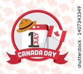 calendar flag and hat happy...   Shutterstock .eps vector #1407343349