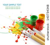 colorful paints and artist... | Shutterstock . vector #140734348