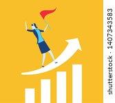 businesswoman with flag arrow...   Shutterstock .eps vector #1407343583