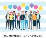 diversity man and woman... | Shutterstock .eps vector #1407345260