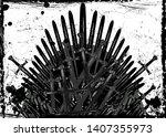 thrones fantasy concept. hand... | Shutterstock .eps vector #1407355973