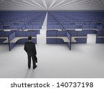 businessman in front of endless ... | Shutterstock . vector #140737198