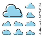 set of cloud line icons... | Shutterstock .eps vector #1407445166