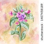 lungwort illustration.... | Shutterstock . vector #1407458189