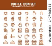 coffee icon set  a set of... | Shutterstock .eps vector #1407468353