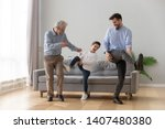 happy three generations of men... | Shutterstock . vector #1407480380