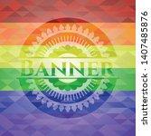 banner emblem on mosaic...   Shutterstock .eps vector #1407485876