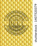 beet shiny golden badge. scales ... | Shutterstock .eps vector #1407520379