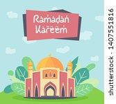 eid mubarok with mosque...   Shutterstock .eps vector #1407551816