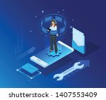 vector template for website and ... | Shutterstock .eps vector #1407553409
