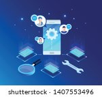 global online email marketing.... | Shutterstock .eps vector #1407553496