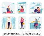 feel lonely. loneliness... | Shutterstock .eps vector #1407589160