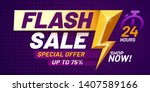 flash sale poster. lightning... | Shutterstock .eps vector #1407589166