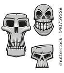 monster and zombie skulls set...   Shutterstock .eps vector #140759236