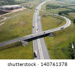 ST-PETERSBURG, RUSSIA - JULY 19: Ring Road aerophotography, July 19, 2007, Point of intersection of  ring road of with  Vyborg highway. Aerial view of intersection of Ring Road with Viborgskoe highway - stock photo