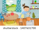 girl cooking in the kitchen. | Shutterstock . vector #1407631700