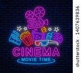 cinema  night neon sign  logo ...   Shutterstock .eps vector #1407639836