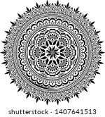mandala pattern black and white ...   Shutterstock .eps vector #1407641513