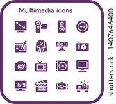 multimedia icon set. 16 filled...   Shutterstock .eps vector #1407646400