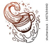 a cup of coffee on a white...   Shutterstock .eps vector #1407654440