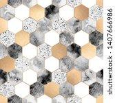 vector seamless geometric... | Shutterstock .eps vector #1407666986