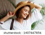 indoor portrait of happy... | Shutterstock . vector #1407667856