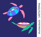 decorative tortoise cartoon...   Shutterstock .eps vector #1407670946