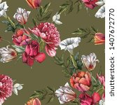 floral seamless pattern with... | Shutterstock . vector #1407672770