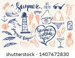 hand drawn summer design... | Shutterstock .eps vector #1407672830
