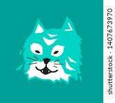 cat head on green background     Shutterstock .eps vector #1407673970