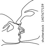 kissing couple continuous line...   Shutterstock .eps vector #1407677159