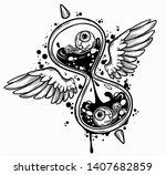 hourglass. black and white hand ...   Shutterstock .eps vector #1407682859