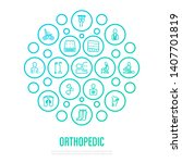 orthopedic concept. thin line... | Shutterstock .eps vector #1407701819
