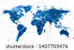 hi tech world map hud interface ... | Shutterstock . vector #1407705476