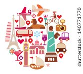 Travel Icons - round vector illustration. Isolated on white background. - stock vector