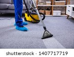 human cleaning carpet in the...   Shutterstock . vector #1407717719