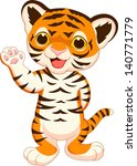 cute baby tiger cartoon waving | Shutterstock .eps vector #140771779