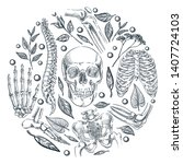 human skeleton  bones and... | Shutterstock .eps vector #1407724103