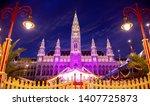 vienna city hall at night ... | Shutterstock . vector #1407725873