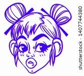 portrait of a cute girl....   Shutterstock .eps vector #1407744380