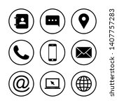 web icon set. contact us icons. ... | Shutterstock .eps vector #1407757283