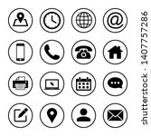 web icon set. contact us icons. ... | Shutterstock .eps vector #1407757286