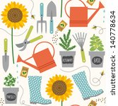 Gardening seamless pattern - stock vector
