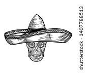 mexican sugar skull in sombrero....   Shutterstock .eps vector #1407788513