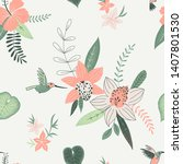tropical flowers color vector... | Shutterstock .eps vector #1407801530