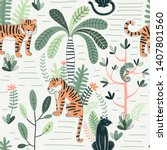 wildlife color vector seamless... | Shutterstock .eps vector #1407801560