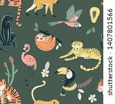 jungle animals color vector... | Shutterstock .eps vector #1407801566