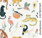 jungle animals color vector... | Shutterstock .eps vector #1407801569