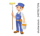 professional painter holding... | Shutterstock .eps vector #1407817196